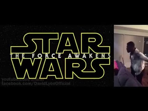 Side by Side - John Boyega's (Finn) reaction as he watches the new Star Wars VII Trailer