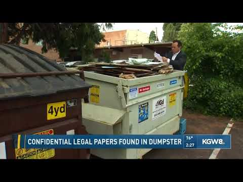 Confidential legal papers found in dumpster