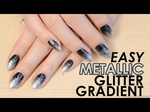Easy Metallic Glitter Gradient Nails (for New Year\'s Eve!) - YouTube