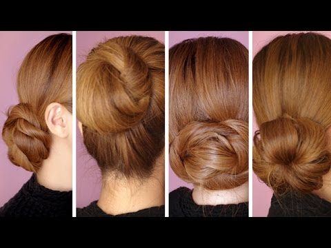 4 Easy Hair Bun Tutorials For The Holidays Youtube