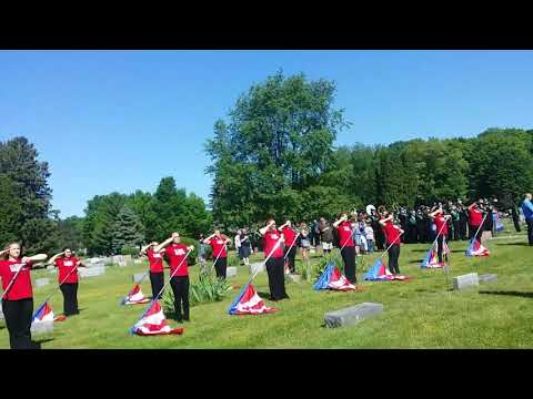 Berrien Springs High School band and colorguard Memorial Day Parade 2017