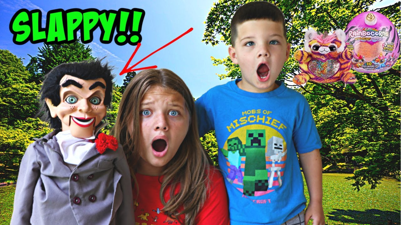 SLAPPY STEALS AUBREY's RAINBOCORN! Toy Scavenger HUNT for Rainbocorns! Slappy Plays Tricks on Me!
