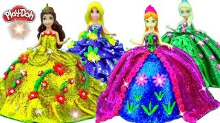 Learn how to make Play Doh Fashion Glitter Dresses for Anna, Elsa Magic Clip Dolls