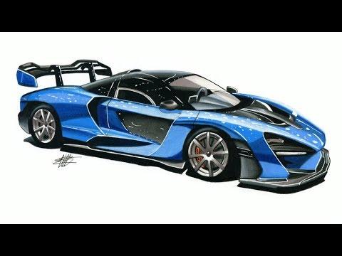 Realistic Car Drawing - McLaren Senna - Time Lapse