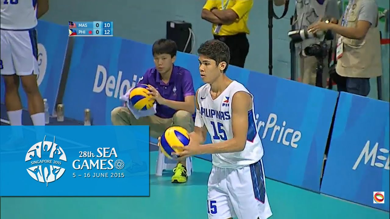 volleyball mens preliminary pool a match 1 malaysia vs philippines 28th sea games singapore 2015 youtube