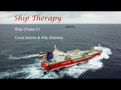 Ship Chase 51 - Coral Actinia & ANL Elanora - opposing movements in a heavy swell - Mavic Pro 4K