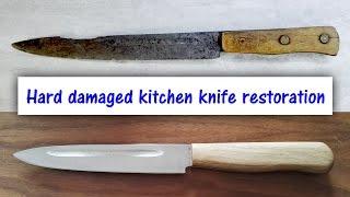 Hard damaged kitchen knife restoration