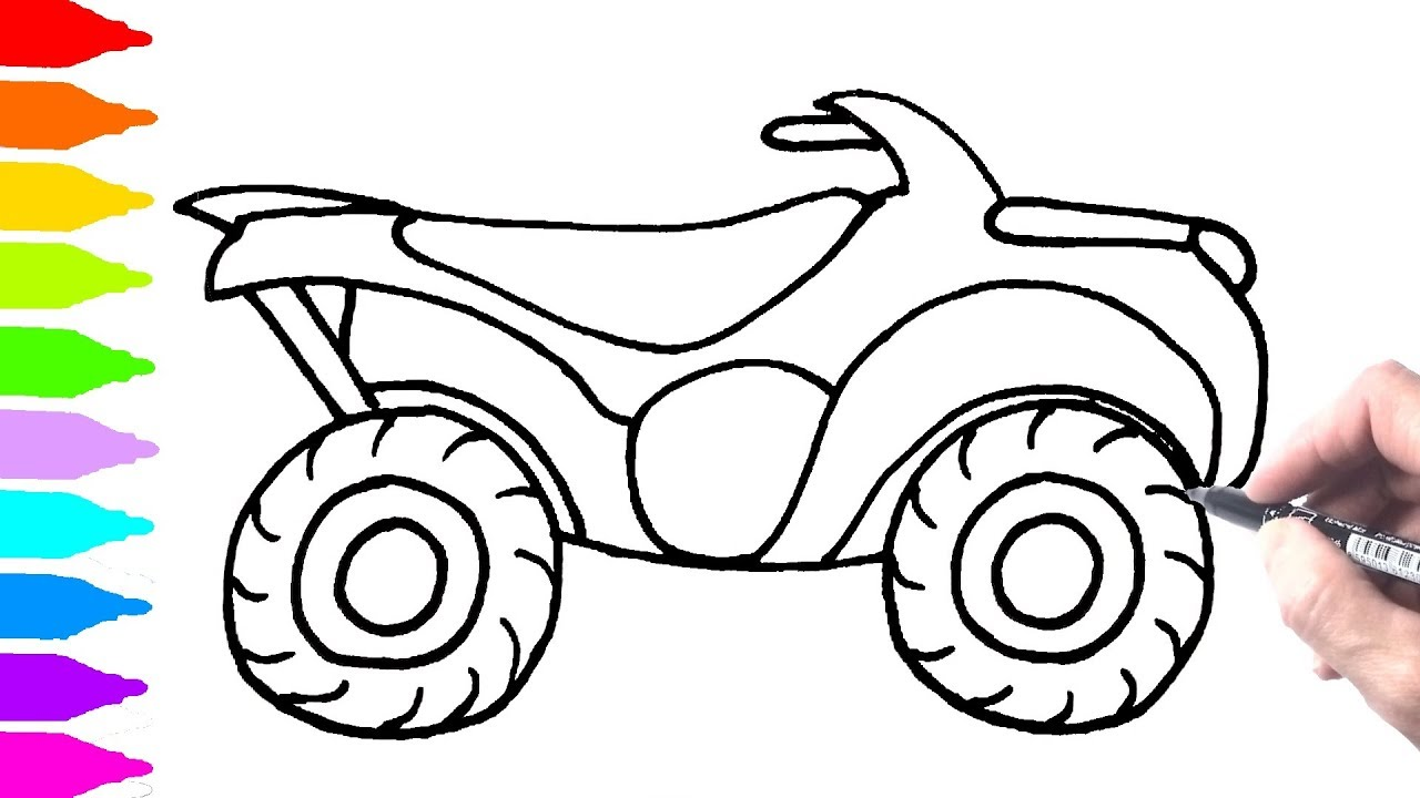 Quad Bike coloring pages, colors for kids with vehicles video ...