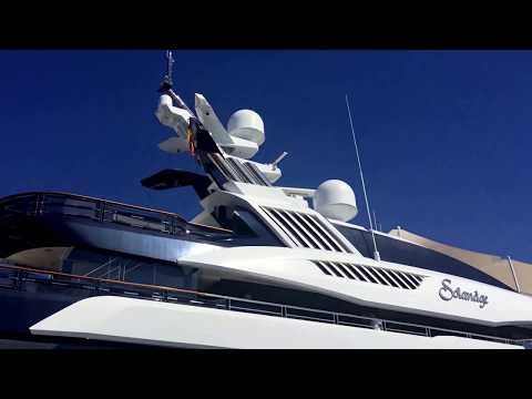Solandge 85m Saudi Royal yacht leaving Puerto Banus port reversing out largest yacht ever in Marina