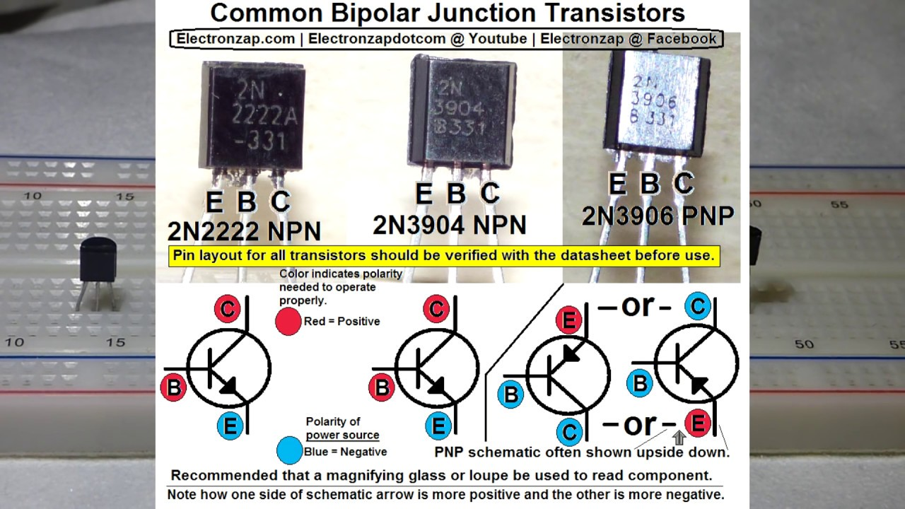 Bipolar Junction Transistor Vid 1 To92 Npn And Pnp Intro Bjt Switch Circuits Explained