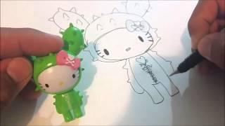 How To Draw Sandy Cactus Tokidoki & Hello Kitty Pen & Ink Kawaii Cute Sharpie