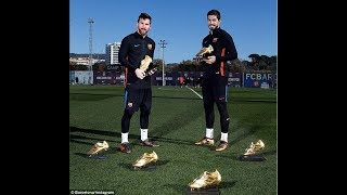 Barcelona stars Lionel Messi and Luis Suarez show off their SIX Golden Shoes to go with magic feet