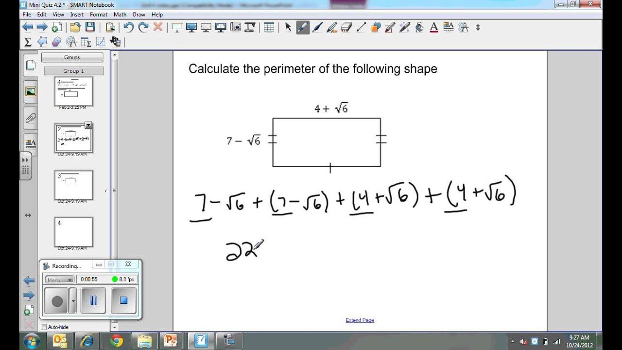 Calculating Perimeter With Radicals