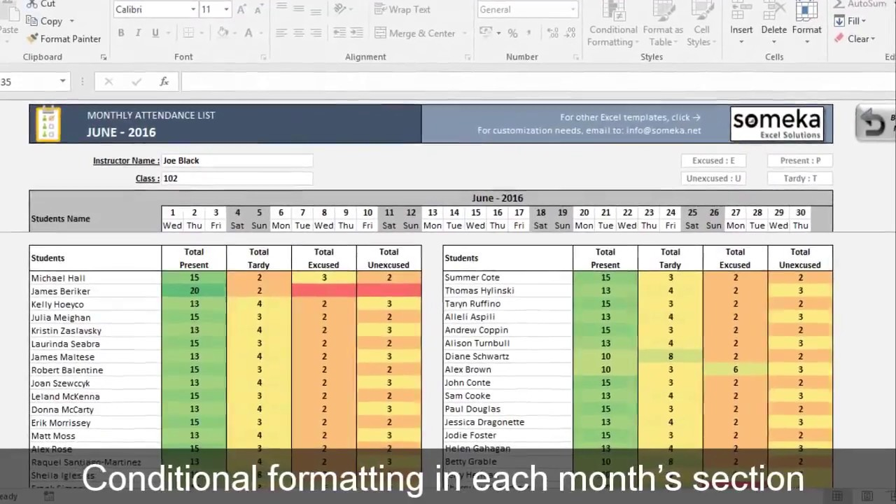 Attendance Sheet Printable Excel Template Free Download Youtube