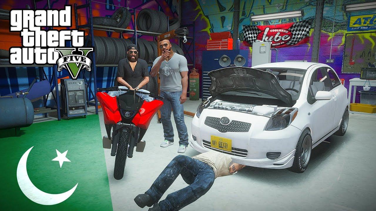 GTA V Real Life Mods - Ashraf Bhai Sells his New Bike | Franklin's New Car Garage | GTA 5 Pakistan