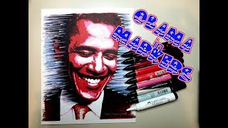 """Obama"" - Original marker drawing by Shelly Denning"