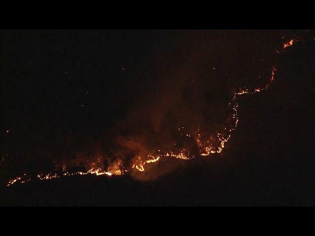 栃木の山火事、4日目でも衰えず 177世帯に避難勧告