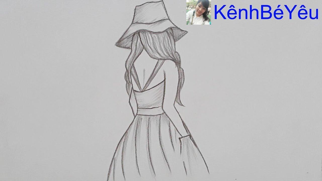 Vẽ cô gái;Vẽ cô gái bằng bút chì đơn giản – Draw girl, Draw girl with simple pencil.