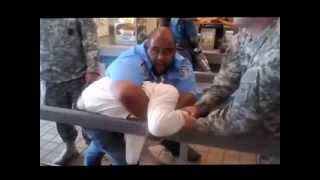 Security Guard Chokes WHITE DUDE
