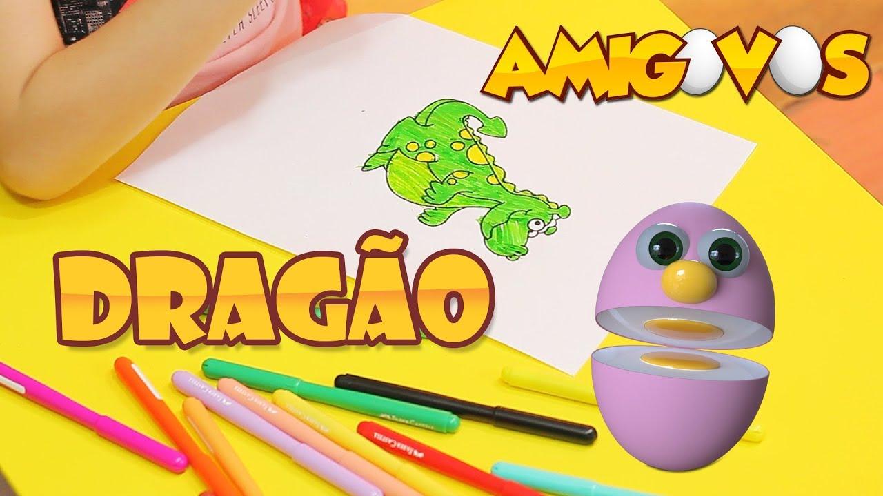 Venha Desenhar E Pintar O Dragao Amigovos Desenho Infantil