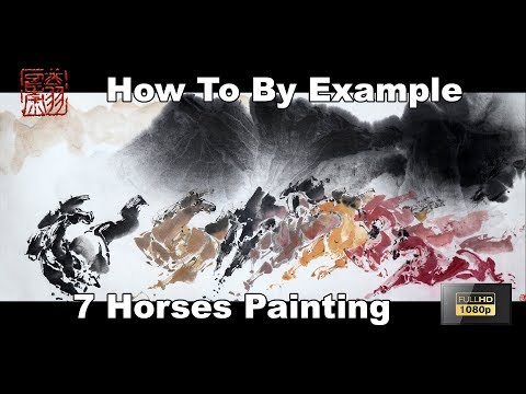 Paint 7 Colorful Horses Using Watercolor By Example - Chinese Brush Art