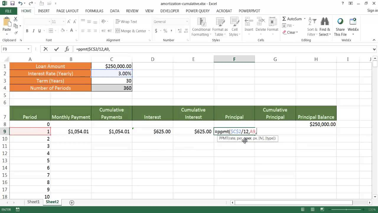 create an amortization schedule with cumulative amounts youtube