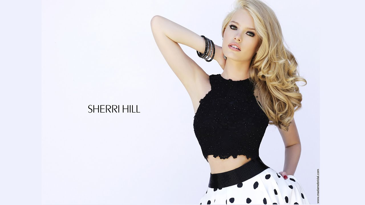 Sherri Hill Polka Dot Prom Dress and Pearl