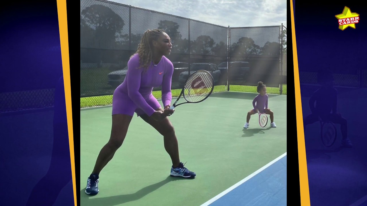 Serena Williams and her daughter Alexis Olympia play tennis together in adorable matching outfits