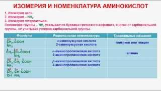 № 166. Органическая химия. Тема 26. Аминокислоты. Часть 2. Изомерия и номенклатура аминокислот