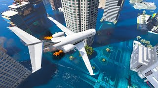 GTA 5 Crazy Plane Crashes Ep.9 | Flooded Los Santos (Euphoria Physics)