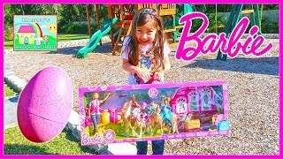 Barbie Dolls Egg Surprise Toys Unboxing w/ Chelsea Doll, Stacy & Horse toy!