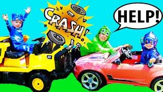 PJ Masks NIGHT NINJA TROUBLE Crashes CAR! Catboy & Gekko Get Catboy Car Back to PJ Masks HQ!