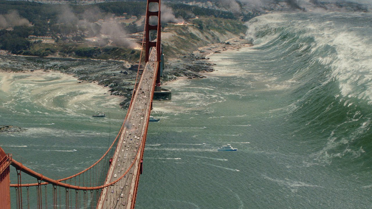 An image of the tsunami and the Golden Gate Bridge from San Andreas