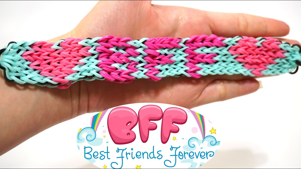 Bff Rainbow Loom Bracelet For Your Best Friends Forever With Four Forks No  Loom Diy  Youtube
