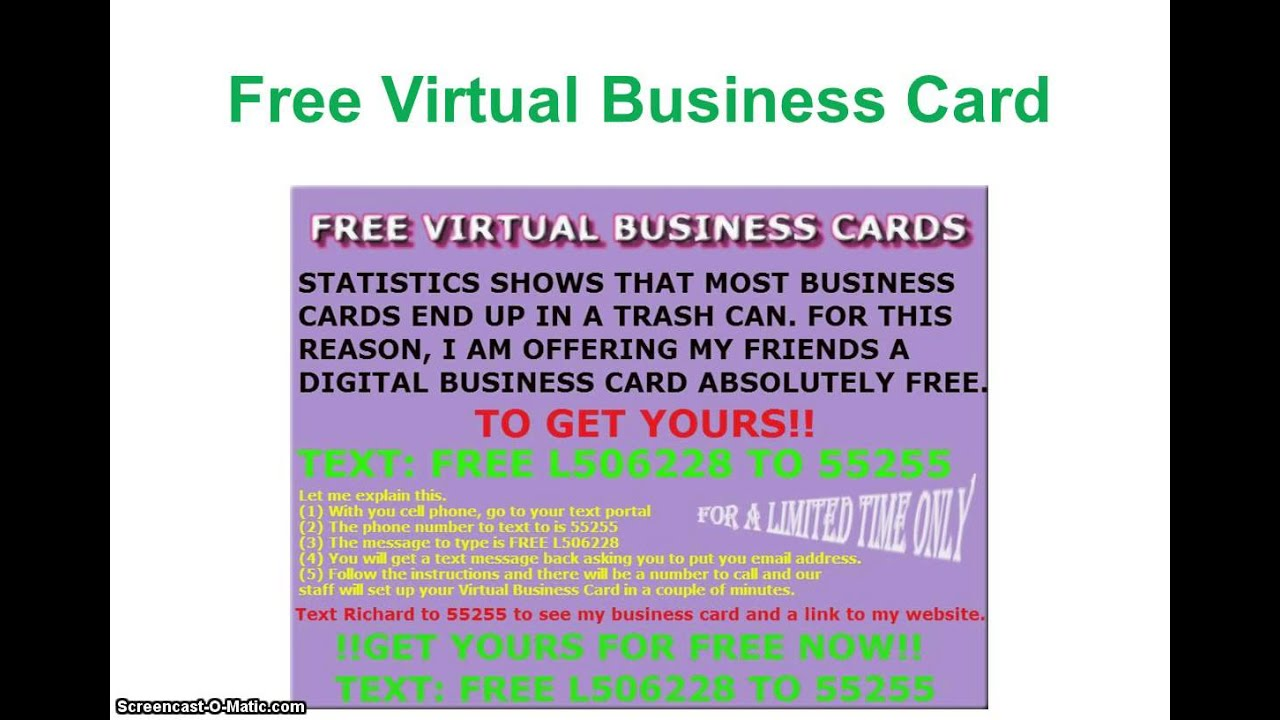 How To Get Free Virtual Business Card Video Youtube