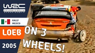 WRC - Rally México 2005: Sébastien Loeb´s 3-wheel drive!