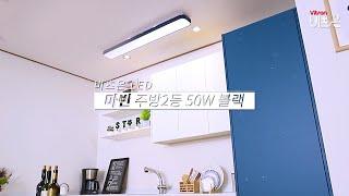 비츠온 LED 마빈 주방2등 50W 블랙