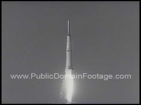 First U.S. Moon orbiting satellite rocket failure archival stock footage