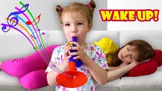 Kids play musical instruments and wake up Mom