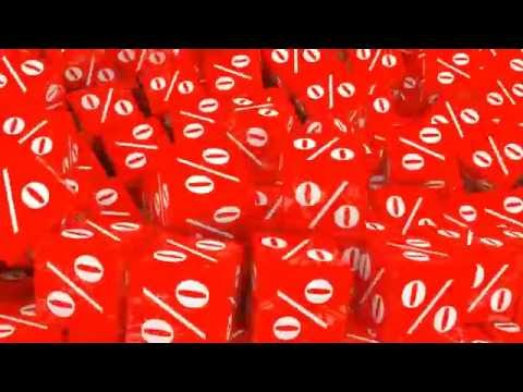 Sale concept of falling red cubes with percent sign