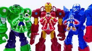 Power Rangers & Marvel Avengers Toys Pretend Play | Superhero Robots vs Triple T Rex