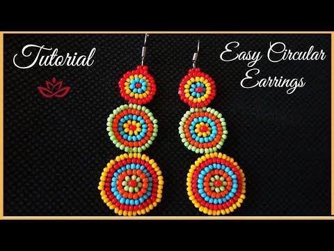 Circular Colorful Seed Bead Earrings Tutorial