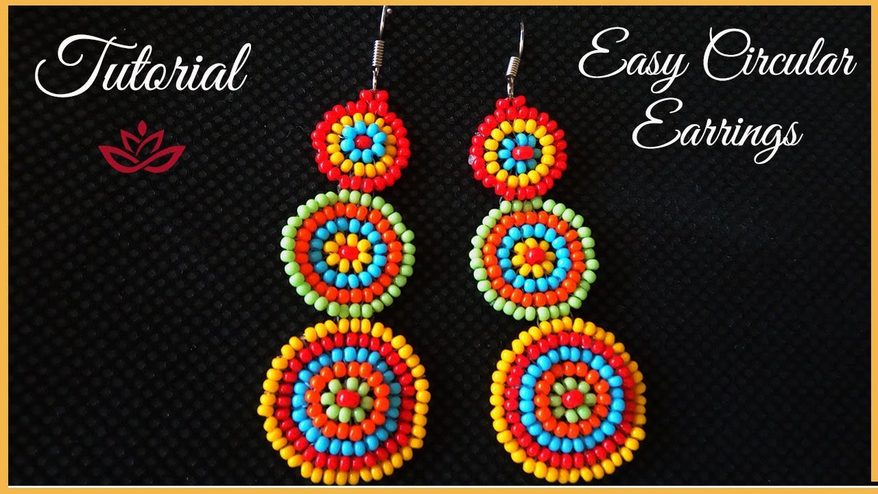 Circular Colorful Seed Bead Earrings Tutorial