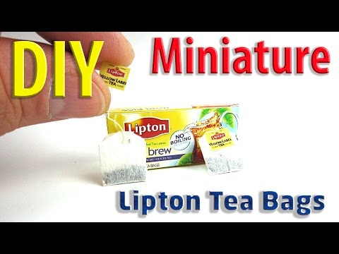 DIY miniature Lipton Tea Bags for Dollhouse food, accessories, and Toys for Barbie