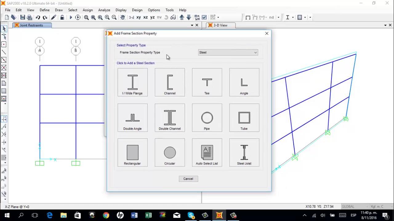 Tutorial SAP2000 Marco - Portico 2D / 2D Frame Analysis SAP2000 ...