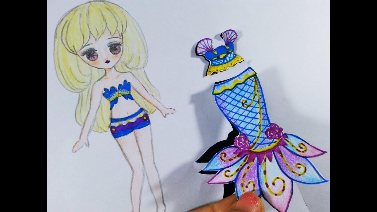 Vẽ cô gái thời trang tóc 2 tầng - Đầm đuôi cá galaxy siêu đẹp/ Draw a girl with fashion galaxy dress