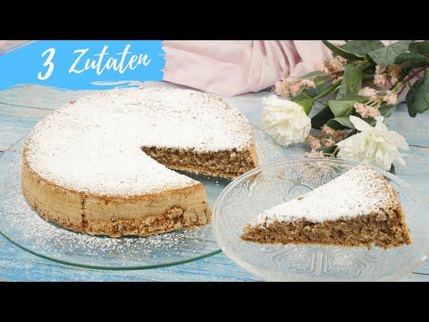 3 Zutaten Kuchen OHNE Mehl | Notfallkuchen | Schnellen Nusskuchen backen