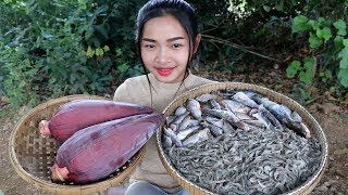 Video Awesome Cooking Sour Soup Prawn / Fish  Banana Flower Delicious - Cook Recipe - Village Food Factory download MP3, 3GP, MP4, WEBM, AVI, FLV Desember 2017
