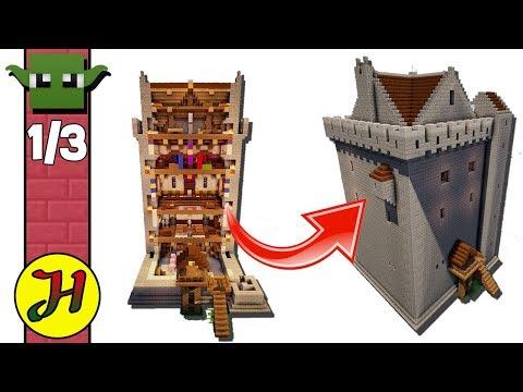 Minecraft Tutorial: Norman Tower House (Best Survival Base) Part 1/3