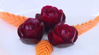 Beetroot Flower And Carrot Leaf Carving